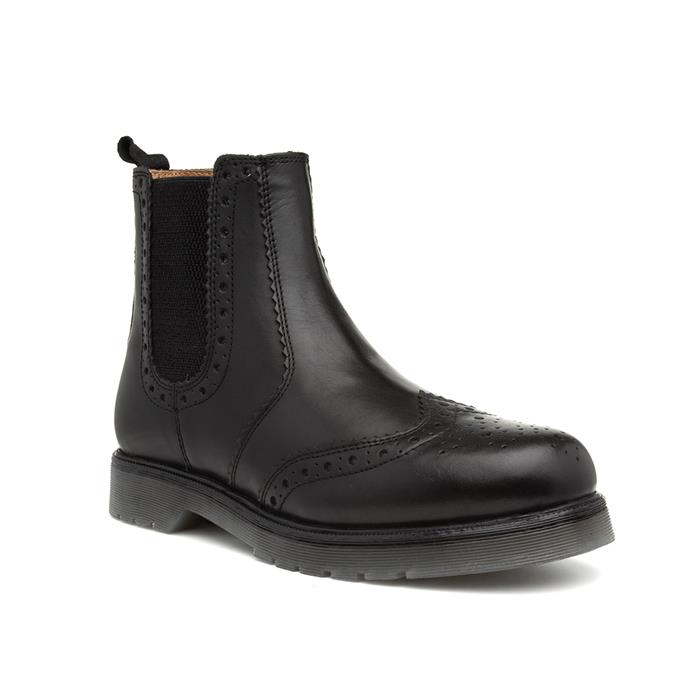Catesby Mens Black Brogue Leather Chelsea Boot