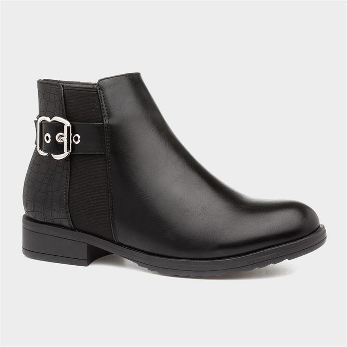 Lilley Womens Black Chelsea Boot with Buckle