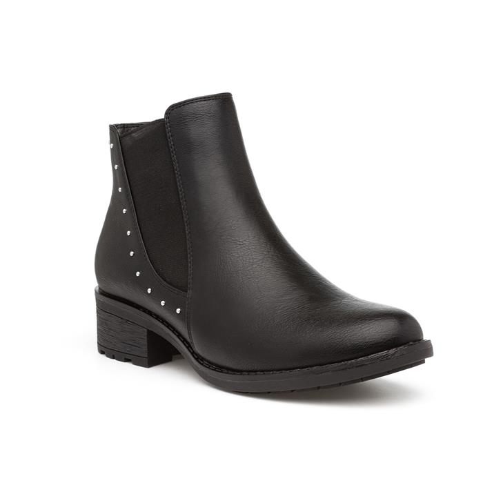 Lilley Womens Black Studded Chelsea Boots