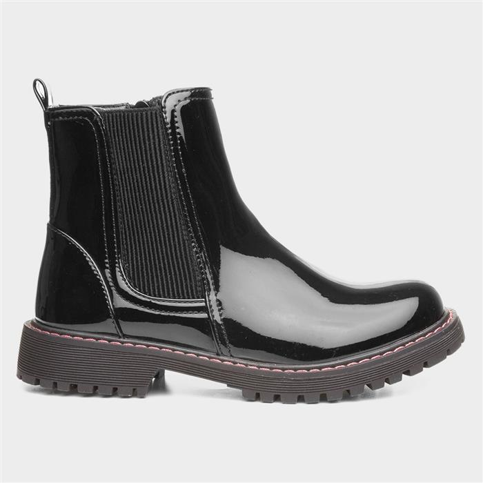 Lilley Girls Black Patent Chelsea Boot