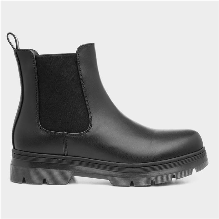 Lilley Womens Black Chelsea Boot with Chunky Sole