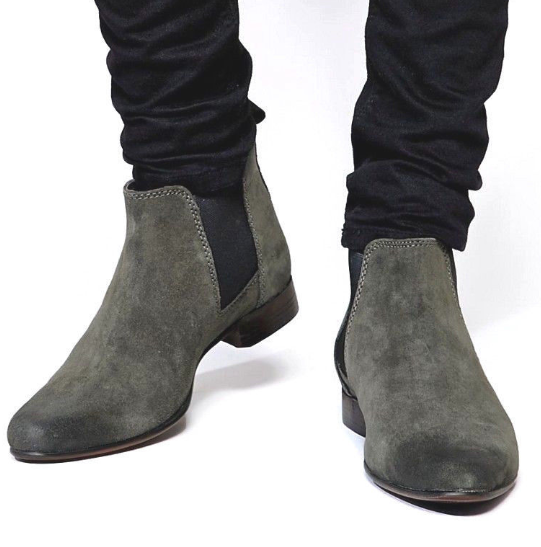 Made to Order Men's Gray Chelsea Jumper Slip On Black Sole Suede Leather Boots